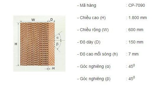 thông số chi tiết tấm làm mát cooling pad